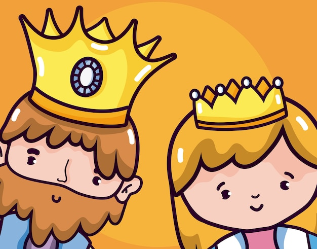 Leuke cartoons van de koning en koningin