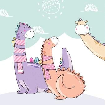 Leuke cartoons van dino's