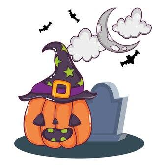 Leuke cartoons van halloween Premium Vector