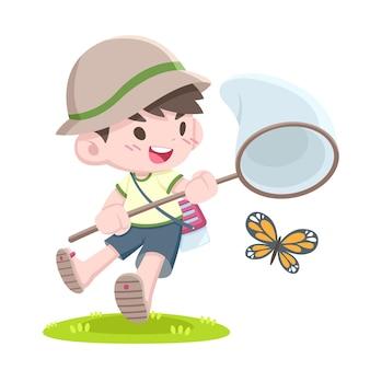 Leuke cartoonstijl kleine japanse jongen van de insectenvanger die vlinder vangt