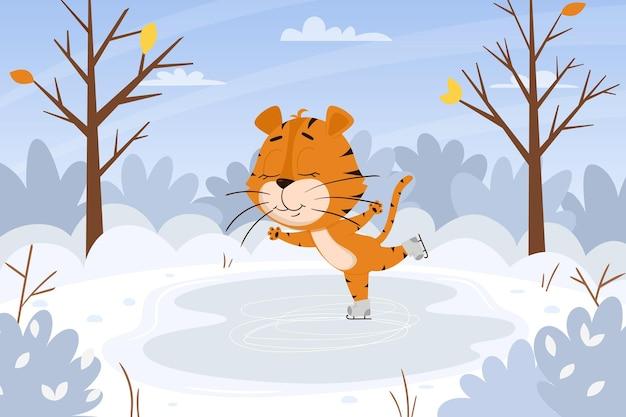 Leuke cartoontijger schaatst op de ijsbaan in het bos. winterlandschap. dierlijk karakter.