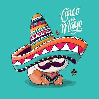 Leuke cartoonvos met de hoed van mexico. cinco de mayo