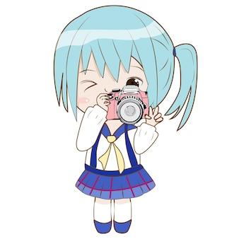 Leuke charakter van het meisje neemt een camera om foto te schieten