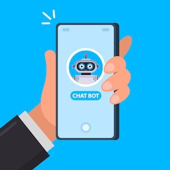 Leuke chatbot aan de telefoon. start een gesprek in de applicatie. vlakke afbeelding.