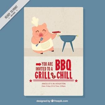 Leuke chef biggetje het doen van een barbecue flyer