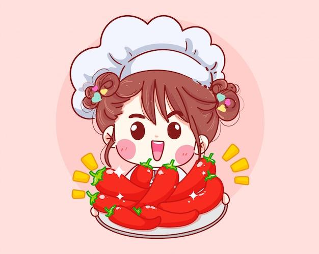 Leuke chef-kok die de rode illustratie van de spaanse peperpeper houdt