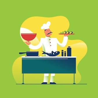 Leuke chef-kok die het gerecht kookt en serveert