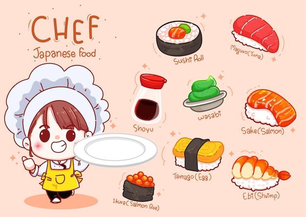 Leuke chef-kok houdt plaat met sushi, japans eten cartoon hand tekenen illustratie