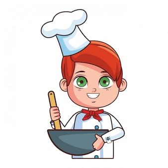 Leuke chef-kok jongen cartoon