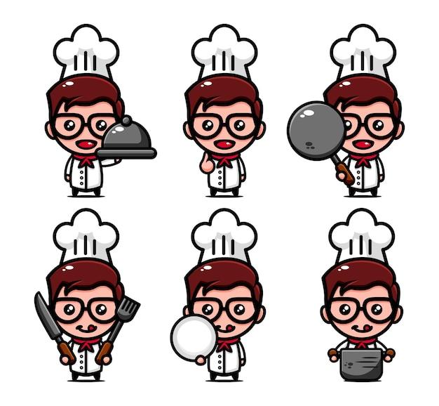 Leuke chef-kok karakter ontwerpset met kookgerei