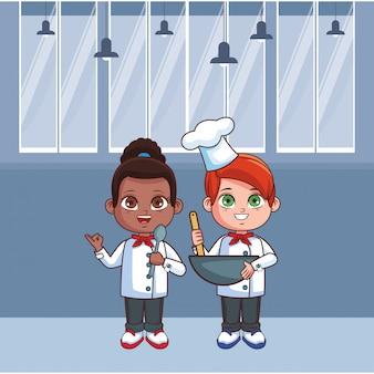Leuke chef-kok kinderen cartoon Premium Vector