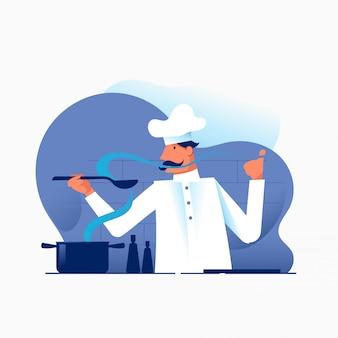Leuke chef-kok koken met pan