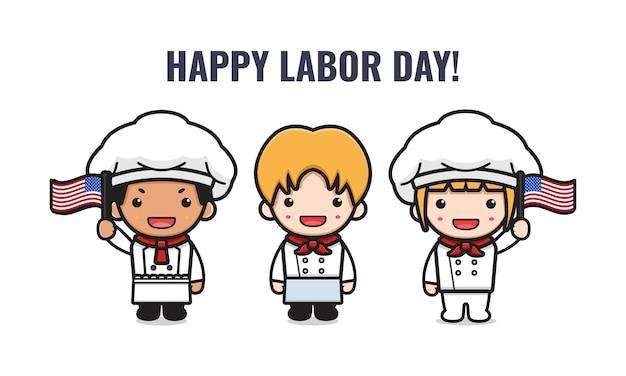 Leuke chef-kok viert de cartoonillustratie van de arbeidsdag. ontwerp geïsoleerde platte cartoonstijl