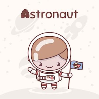 Leuke chibi kawaii-tekens. alfabet beroepen. letter a - astronaut
