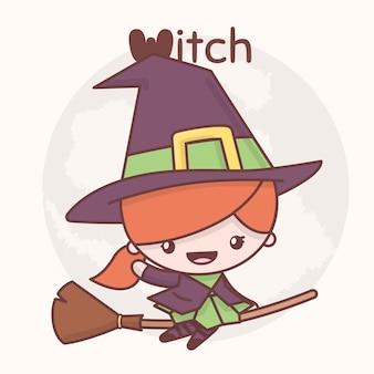 Leuke chibi kawaii tekens halloween set. heks op bezemsteel in van maan. flat cartoon stijl
