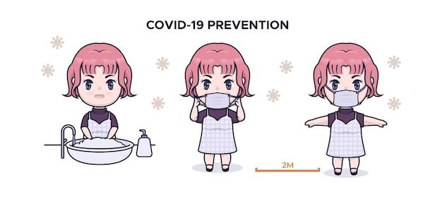 Leuke chibi meisje covid 19 preventie infographic illustratie