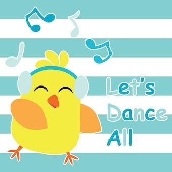 Leuke chickdansen met muziek cartoon, kinder briefkaart en t-shirt ontwerp voor kinderen vector illustratie