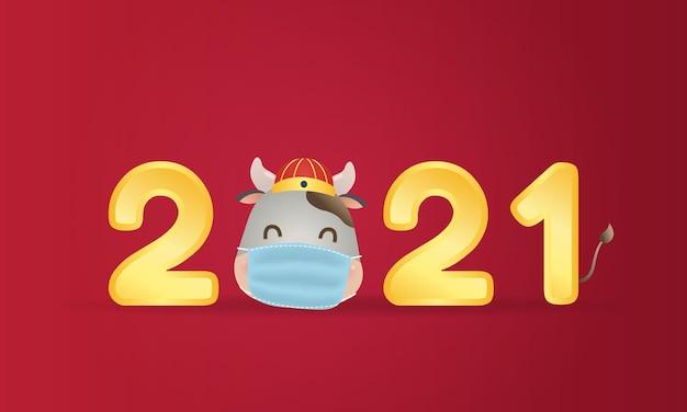 Leuke chinese koe hoofdmascotte die een gezichtsmasker draagt. gelukkig nieuwjaar. coronapandemie.