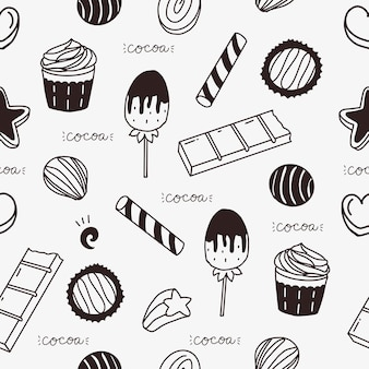 Leuke chocoladereep en cake naadloos patroon vectorbehang als achtergrond