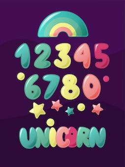 Leuke cijfers voor kinderen. cartoon set voor kinderen. unicorn hand belettering woord met regenboog.
