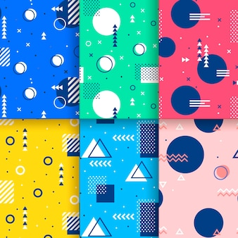 Leuke cirkels en driehoeken memphis naadloos patroon Gratis Vector