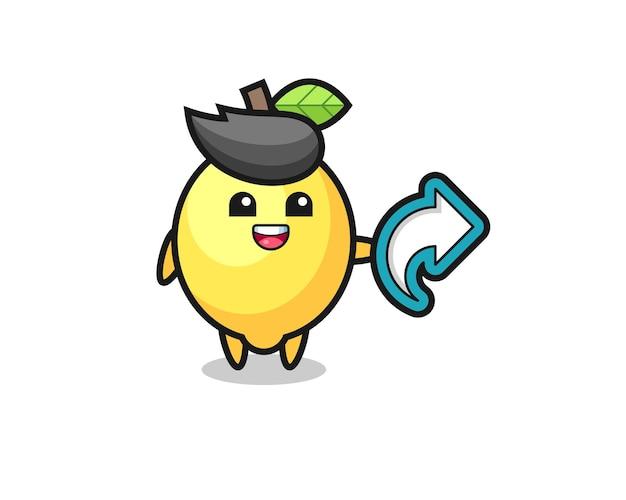 Leuke citroen houdt sociale media deelsymbool, schattig stijlontwerp voor t-shirt, sticker, logo-element