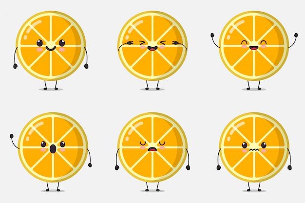 Leuke citroen illustratie instellen collectie. cartoon karakter bundel