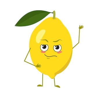 Leuke citroenkarakters met emoties, gezicht, armen en benen. lente of zomer decoratie