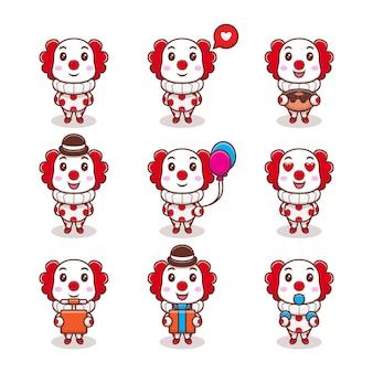 Leuke clown met verschillende uitdrukkingen instellen