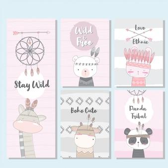 Leuke collectie boho-kaart voor kind