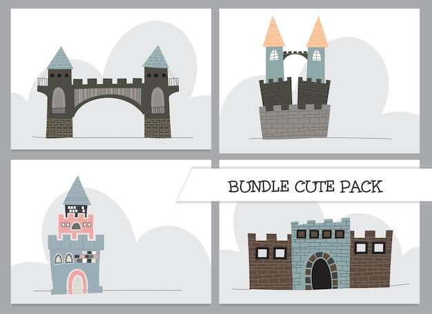 Leuke collectie cartoon platte kasteelillustratie