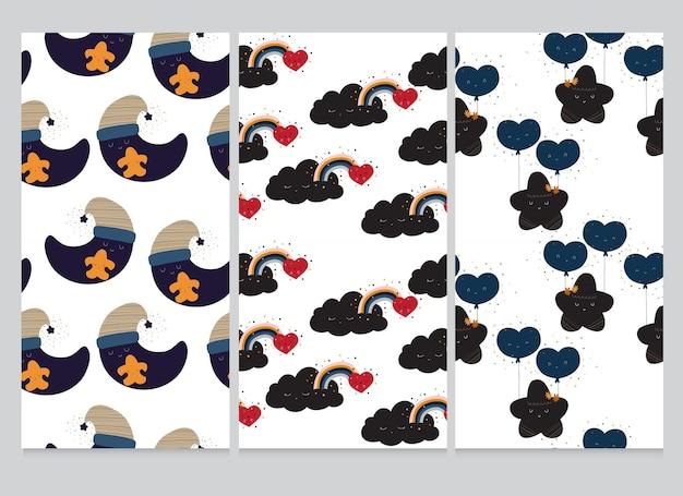 Leuke collectie cartoon platte maan ster wolk patroon set