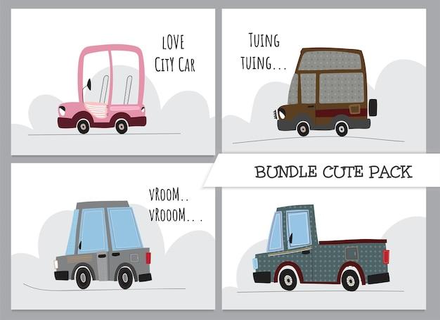 Leuke collectie cartoon stadsauto illustratie Premium Vector