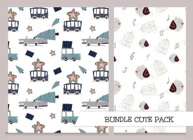 Leuke collectie kinderen patroon set plat ontwerp