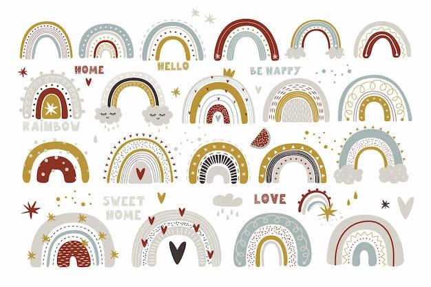 Leuke collectie magische regenboog voor het ontwerp van een kinderkamer, kinderposter. afdrukken op stof en papier.