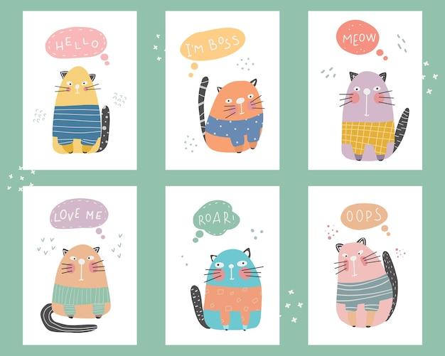 Leuke collectie van een kat met belettering kinderachtige print voor kinderkamer ideal
