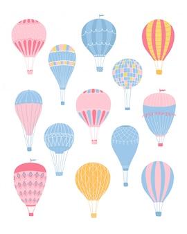 Leuke collectie verschillende romantische luchtballonnen in pastelkleuren geïsoleerd op een witte achtergrond. illustratie