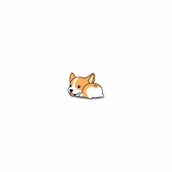 Leuke corgi kont cartoon pictogram vector