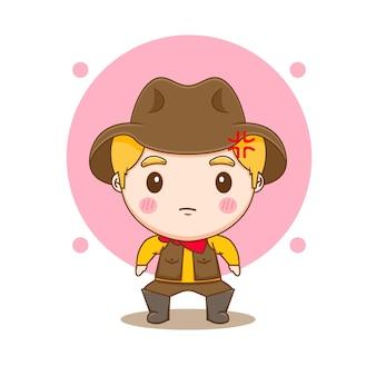 Leuke cowboy chibi karakter illustratie