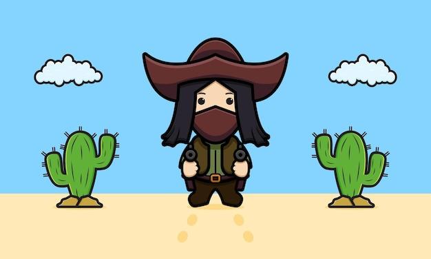 Leuke cowboy in de woestijn cartoon pictogram illustratie ontwerp geïsoleerde platte cartoon stijl