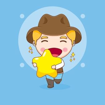 Leuke cowboy met grote ster chibi karakter illustratie