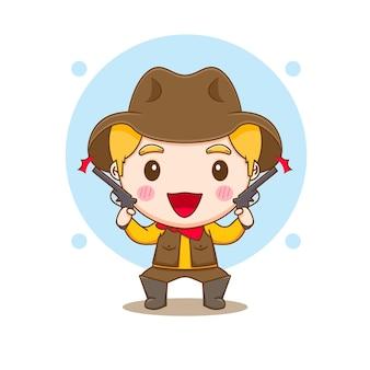 Leuke cowboy met kanonnen chibi karakter illustratie
