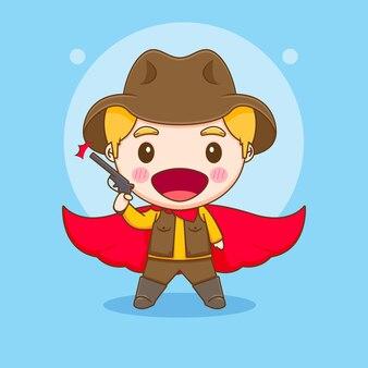 Leuke cowboy met pistool en rode mantel chibi karakter illustratie