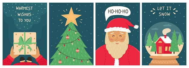 Leuke cristmas set van 4 nieuwjaarskaarten.