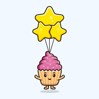 Leuke cupcake die met sterballon drijft. voedsel karakter pictogram illustratie
