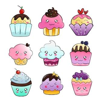 Leuke cupcake doodle sticker set met kleurrijke kleurverloop voor kinderen.