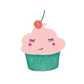Leuke cupcake met kersen platte vectorillustratie. romige confectie met bes bovenop stripfiguur. grappig dessert met fruitsmaak. zoete lachende taart geïsoleerd op een witte achtergrond.