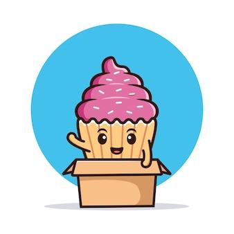 Leuke cupcake zwaaiende hand op doos. voedsel karakter pictogram illustratie