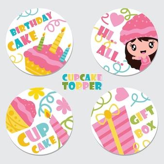 Leuke cupcakemeisje, cake, kaars, en de illustratie van de giftdoos voor verjaardag
