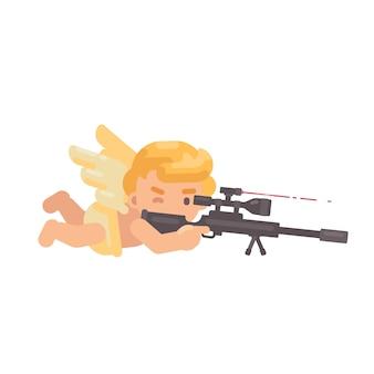 Leuke cupido die een sluipschuttergeweer ontspruit